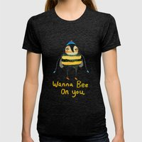 Wana Bee On You! Womens Fitted Tee Tri-Black SMALL