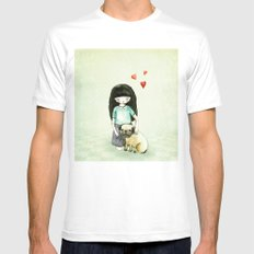 Pug is my best friend White SMALL Mens Fitted Tee