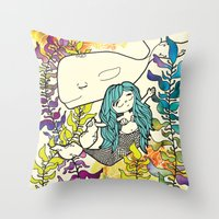 Mermaid and Whale  Throw Pillow