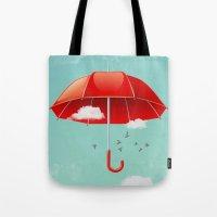 Teal Sky Red Umbrella Tote Bag