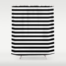 Modern Black White Stripes Monochrome Pattern Shower Curtain