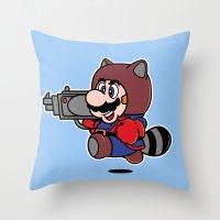 Rocket Tanooki  Throw Pillow