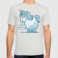 Overweight Unicorn (monochrome) Mens Fitted Tee Silver SMALL