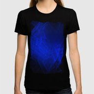 Blue Smoke, Fractal Abst… Womens Fitted Tee Black LARGE