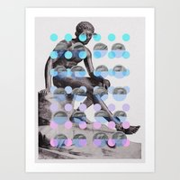 Statue With A Dot Gradient 2 Art Print
