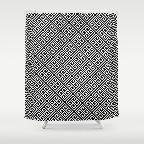 Black White Greek Key Pattern Shower Curtain By Enduring Moments Society6