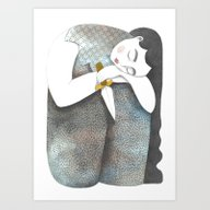 Art Print featuring Woman With Knife by Violaine Costa