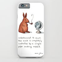 iPhone Cases featuring Pipe-smoking rabbit by Marc Johns