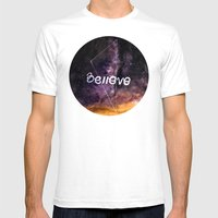 Don't Stop Believing Mens Fitted Tee White SMALL