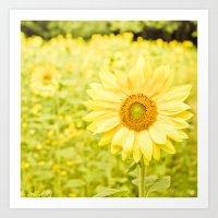 Smiling sunflower Art Print