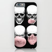iPhone Cases featuring Skulls chewing bubblegum by Piotr Burdan