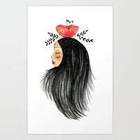 Girl With Flower Art Print