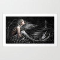 Mermaid At Midnight Art Print