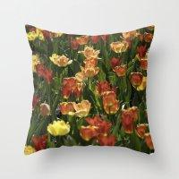 A sea of spring tulips Throw Pillow