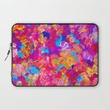 FLORAL FANTASY Bold Abstract Flowers Acrylic Textural Painting Neon Pink Turquoise Feminine Art Laptop Sleeve