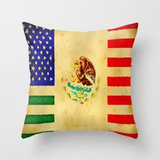 MEXICAN AMERICAN FLAG - 017 Throw Pillow