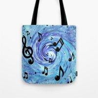 Musical Blue Tote Bag