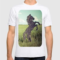 Horse Fence Mens Fitted Tee Ash Grey SMALL