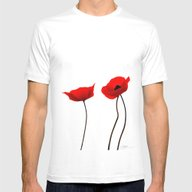 Simply Poppies Mens Fitted Tee White SMALL