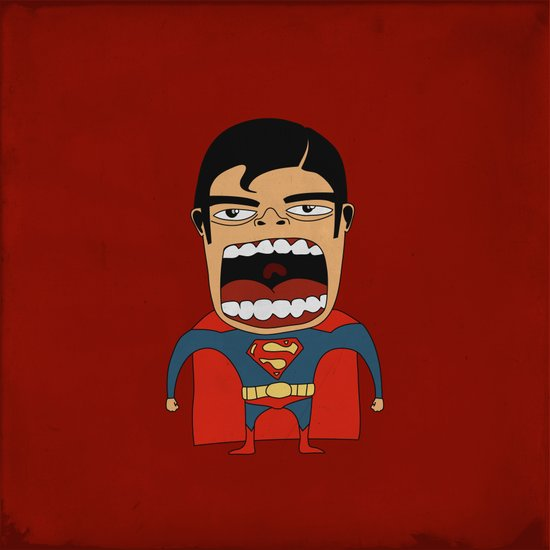 Screaming Superdude Art Print