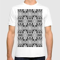 Folk Flowers Mens Fitted Tee White SMALL