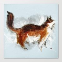 Calico Cat On Canvas Canvas Print