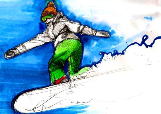 Snowboarder girl Art Print