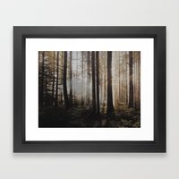 Sunrise through the woods Framed Art Print