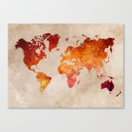 Red World Map Canvas Print