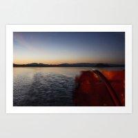 Paddle Boat Sunset View Art Print