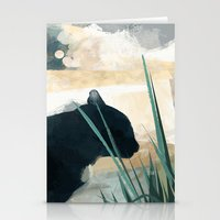 Skelly Cat In The Grass Stationery Cards