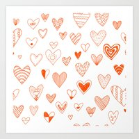 Fun Hearts Art Print