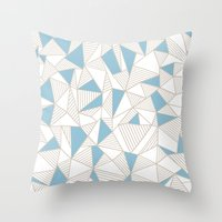 Ab Nude Lines With Blue … Throw Pillow