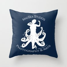 MadSea Nymph, white on blue Throw Pillow