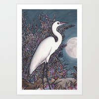 Egret in the Moonlight Art Print
