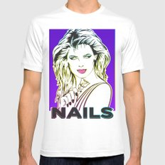 Nails White SMALL Mens Fitted Tee