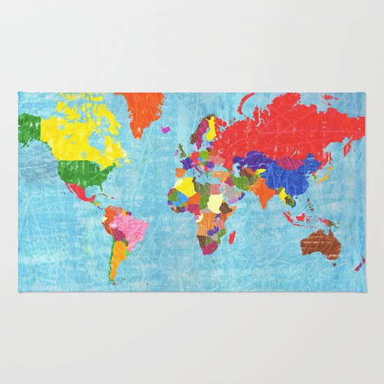 World Map Throw Rug: World Map Rug By Elvia Montemayor
