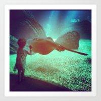 Boy at the Portuguese Oceanarium   Art Print