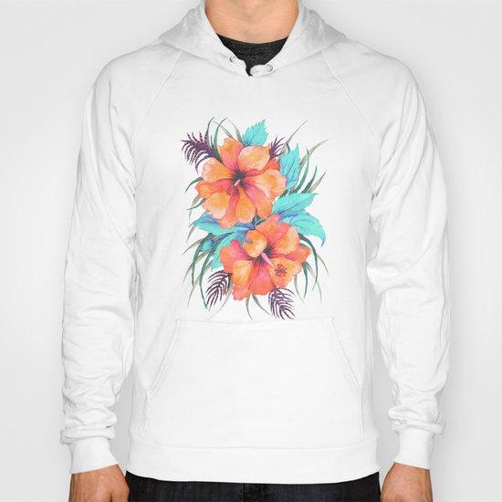 TROPICAL FLOWER {orange hibiscus}  Hoody