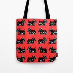 Scottie Dogs Black and Red Pattern Tote Bag