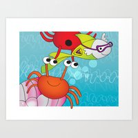 Playing With Crabs Art Print