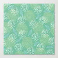 Pastel Peony and Leaf Pattern Design  Canvas Print