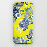 Floral pattern in Neon yellow iPhone 6 Slim Case