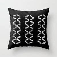 Vertical Three (White on Black) Throw Pillow