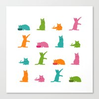 Cats Multicolor Canvas Print