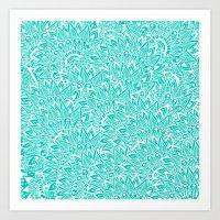 Bright Turquoise Modern … Art Print