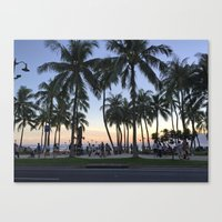 Sunset on Waikiki Canvas Print