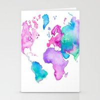 Modern world map globe bright watercolor paint Stationery Cards