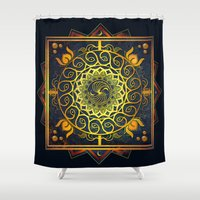 Golden Filigree Mandala Shower Curtain