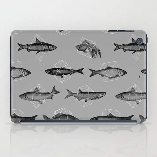Fishes In Geometrics (Grey) iPad Case